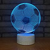 3D Illusion LED Soccer Ball Night Light Football Desk Table Lamp with 7 Color Changeable Touch Sensor Sport Element Home Decoration Birthday Toy Gift Christmas Xmas present for sport lovers
