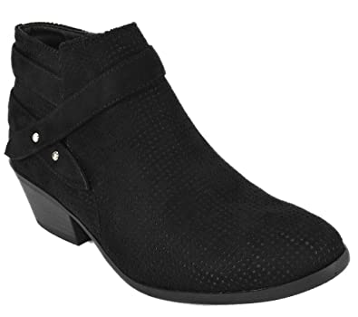 choose official 100% original size 40 SODA Women Small Short Heel Ankle Boots Buckled Booties Side Zipper Portia