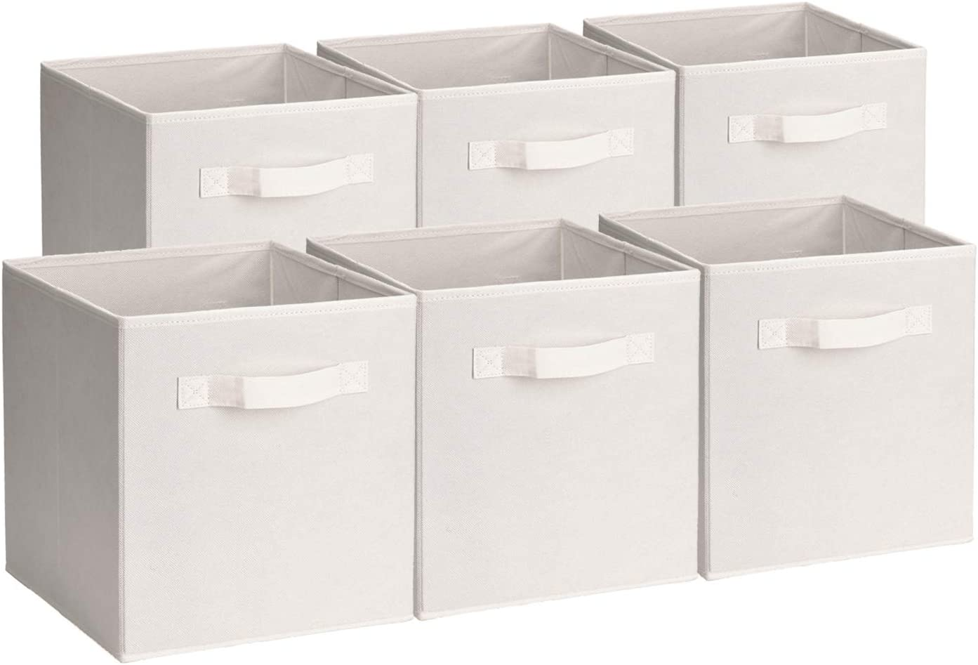 UMI. by Amazon - Cubos de Almacenaje de Tela, Cajas de Almacenaje Plegables, Set de 6 Cajas de Almacenamiento, Cubos de Almacenaje sin Tapa para Hogar Oficina, Beige, 26,7 x 26,7 x 27,9 cm