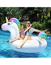 infinitoo Luftmatratze Wasser Aufblasbares Einhorn Luftmatratze Pool PVC Aufblasbar Schwimmtier Wasserspielzeug Pool Floß für 1-2 Erwachsene/Kinder Inkl. 5 Flicken