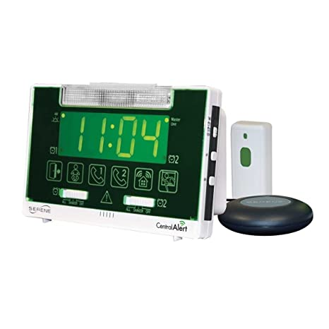 Serene Innovations Centralalert Notification System Ca360h Vibrating Alarm Clock/receiver with Hanging Door Knock Sensor for Deaf or Hearing Loss ...