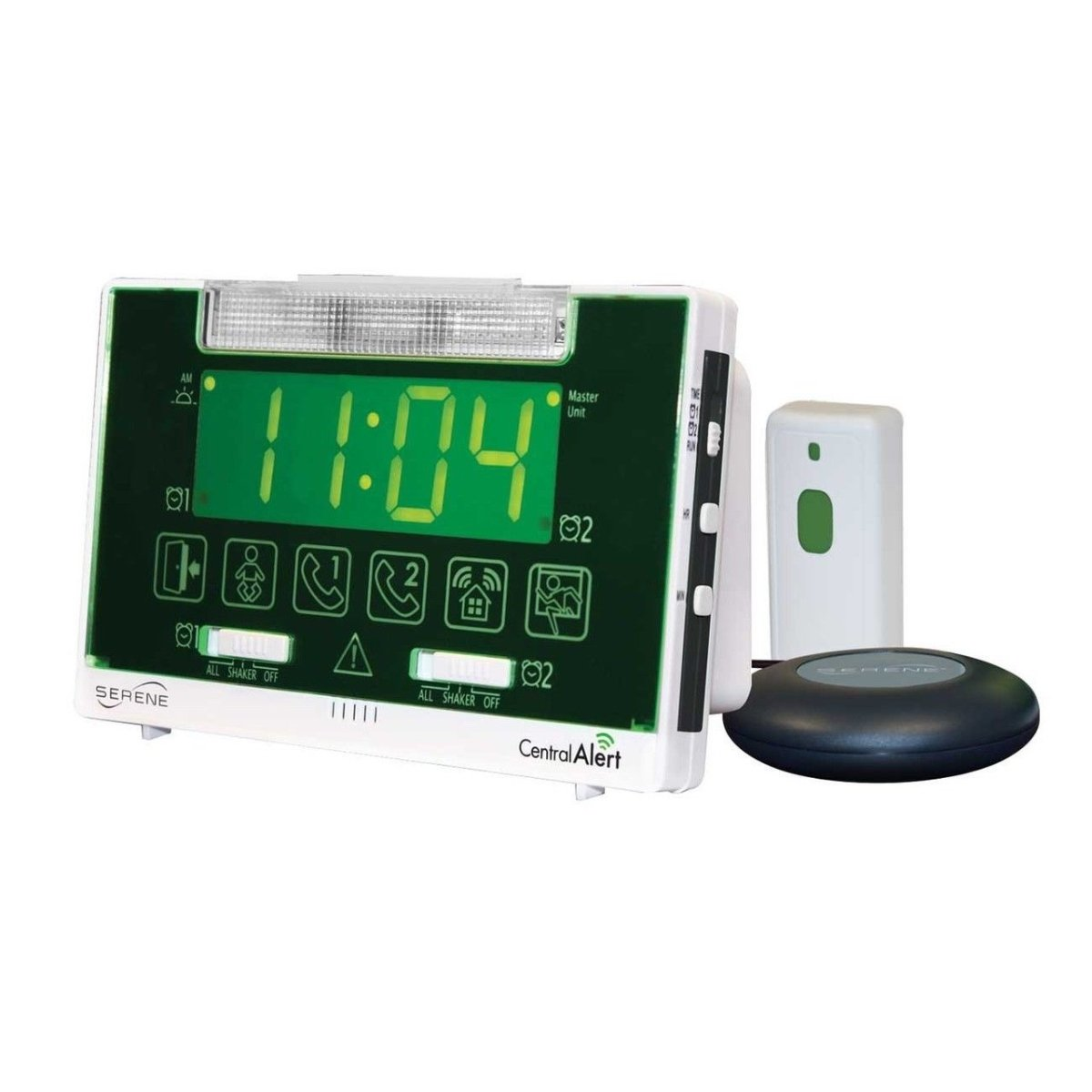 Serene Innovations Centralalert Notification System Ca360h Vibrating Alarm Clock/receiver with Hanging Door Knock Sensor for Deaf or Hearing Loss Impaired Disabled