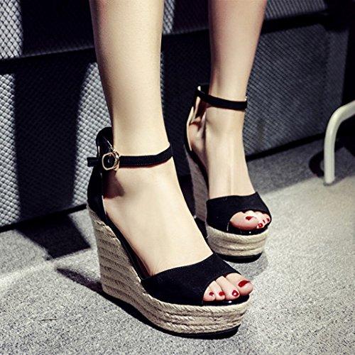 keil sandalen im sommer wasserdicht taiwan ein weiblicher fisch mund dick heels sandalen weibliche schwarze schuhe...