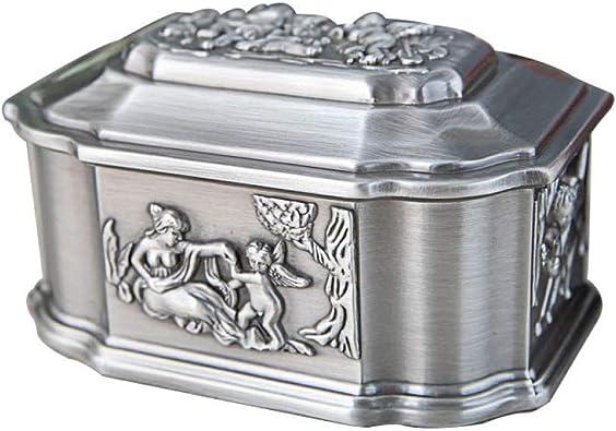 LKJLIN Joyero Caja De Joyería Creativa Vintage Metal Craft Ángel Tallado Trinket Caja De Almacenamiento Caja De Regalo Organizador De Joyería Embalaje: Amazon.es: Joyería