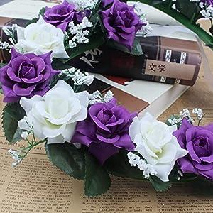 Lanlan Heart Rose Wreath for Wedding Decorations Home Decorations Door Decorations Living Room Hanging Flower White-purple 1PCS 4
