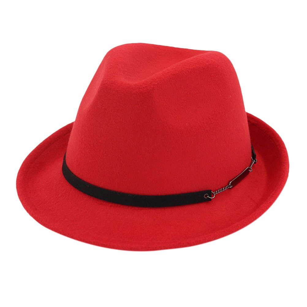 Zhhlinyuan Unisex Wool Felt Cap Fedora Trilby Hats Women Men Gentleman Jazz Hat Autumn Winter
