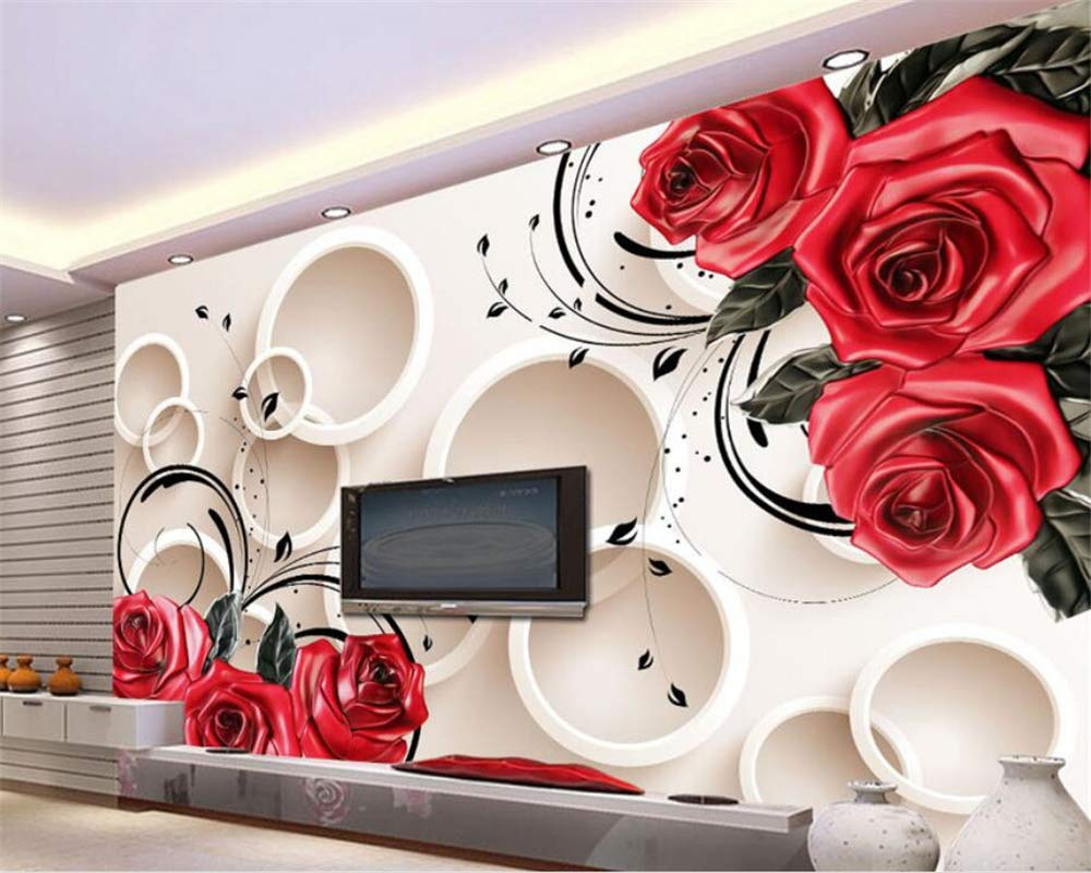 Buy Avikalp Exclusive Awz0339 3d Wallpaper 3d Red Rose Reliefs Home Decoration Living Room Bedroom Sofa Background Hd 3d Wallpaper 4 Ft X 6 Ft Online At Low Prices In India Amazon In