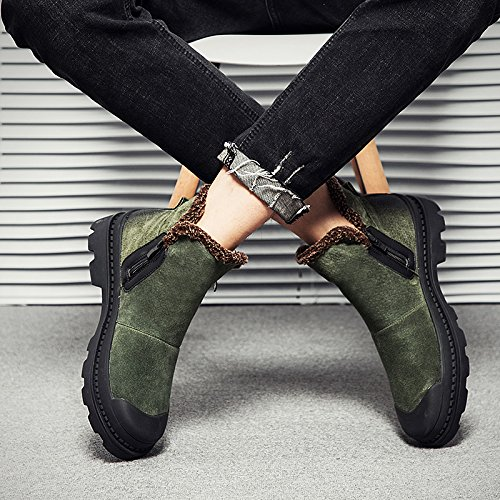 HL-PYL - Schuhe mit dicken Sohlen Stiefel warme Cashmere hohe Schuhe Retro Martin Stiefel 39 Grün