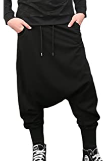 1f3d6446aa5551 Mens Black Jogger Drop Crotch Street Dance Trousers Casual Sweat ...
