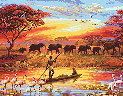 ABEUTY DIY Paint by Numbers for Adults Beginner - Fisherman Elephant Herd 16x20 inches Number Painting Anti Stress Toys (Wooden Framed)