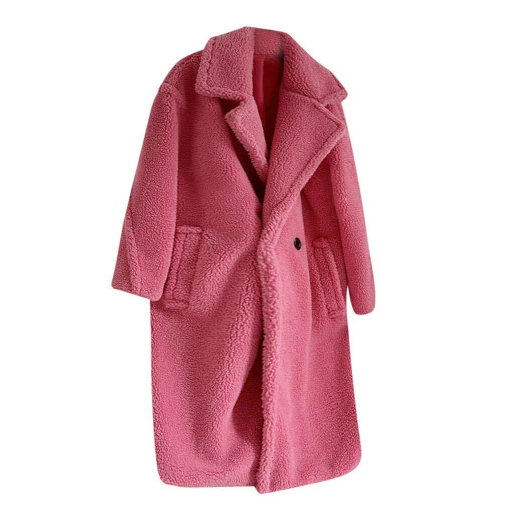 HCFKJ Women Tops Fashion Autumn and Winter Loose Medium Long Windbreaker Lamb Coat(Hot Pink,XS) by HCFKJ
