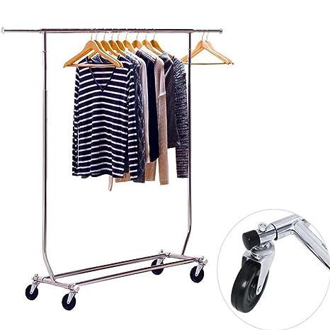 Solo Polo Ferroviario Rolling ropa Rack, Heavy Duty acero inoxidable ropa secado para colgar accesorio