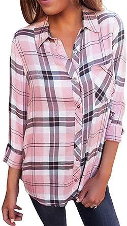 Lueyifs - Camisas - Cuadros - Cuello Alto - para Mujer Rosa M: Amazon.es: Ropa y accesorios