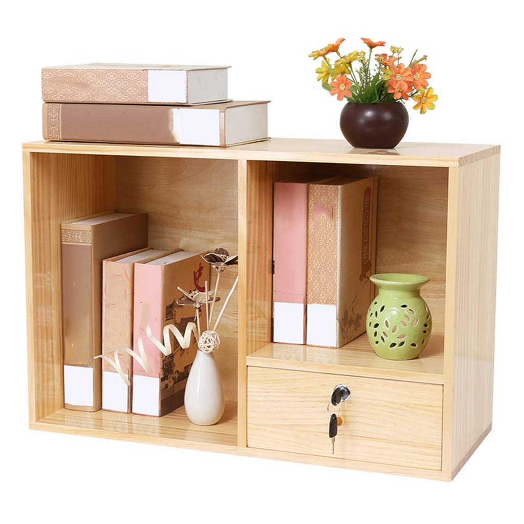 Book Accessories Drawer Storage Cabinet Student Desk Bookshelf Desktop Small Bookcase with Lock Small Cabinet Mini Locker (Color : Beige, Size : 602540CM) by Book Stands