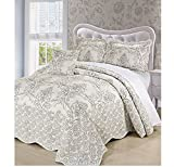 4 Piece Beautiful White Ivory Queen Bedspread Set, Floral Themed Bedding Stylish Vintage Antique Pretty Classic Elegant Shabby Chic Scalloped Flower Garden Damask French Country, Microfiber, Polyester