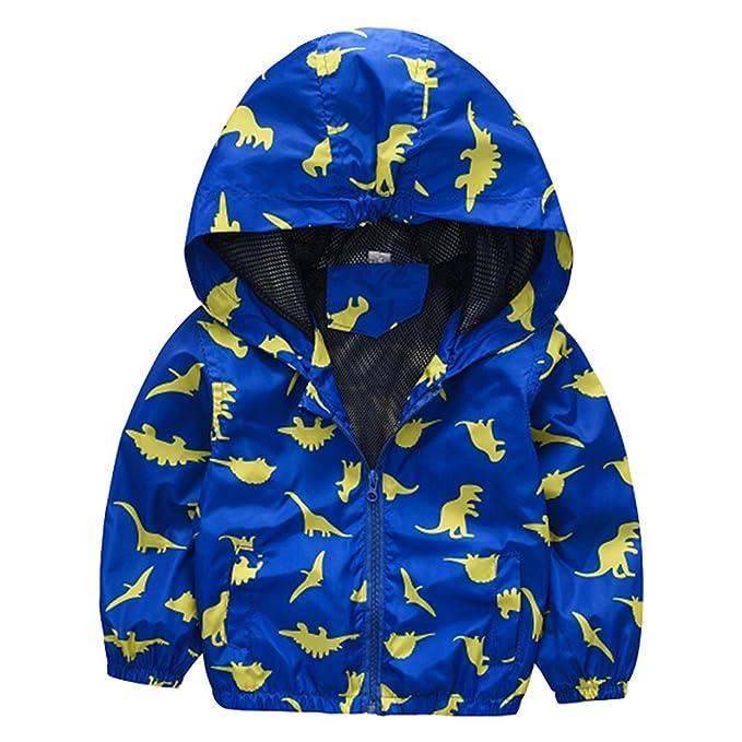 M&A Chubasquero Infantil Niño Otoño Primavera Sudadera Prensa Dinosaurio Impermeable Gabardina Coat Cool Boy Deporte Rompeviento