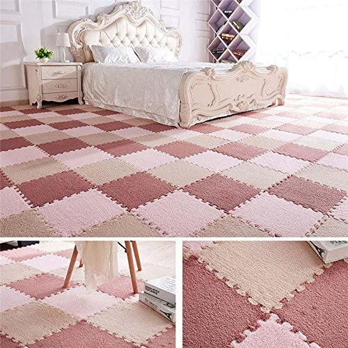 Interlocking Foam Mats,Foam Mat,Fuzzy Area Rug 9 Fluffy Carpet Tiles Kids Baby Room Ideal Nursery Decor Playroom Kids Room