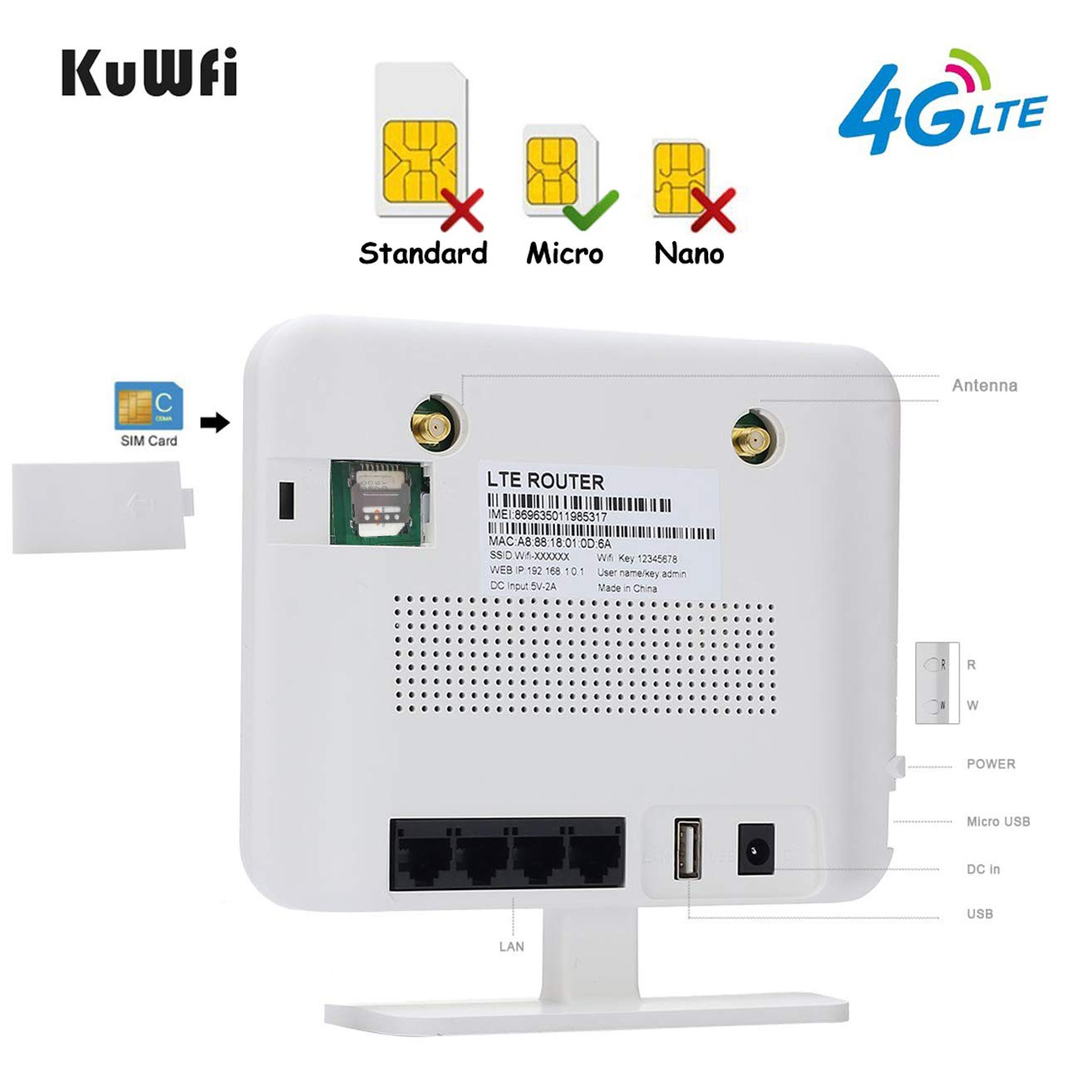 KuWFi 4G LTE CPE Router 300Mbps Unlocked Wireless Routers with SIM Card Slot 2 Outdoor Antenna 4 LAN Port WiFi Hotspot High Speed for 32 Users Work in ...