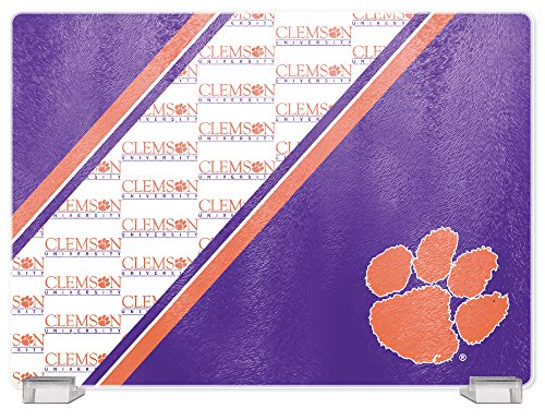 (NCAA Clemson Tigers Tempered Glass Cutting Board with Display Stand)