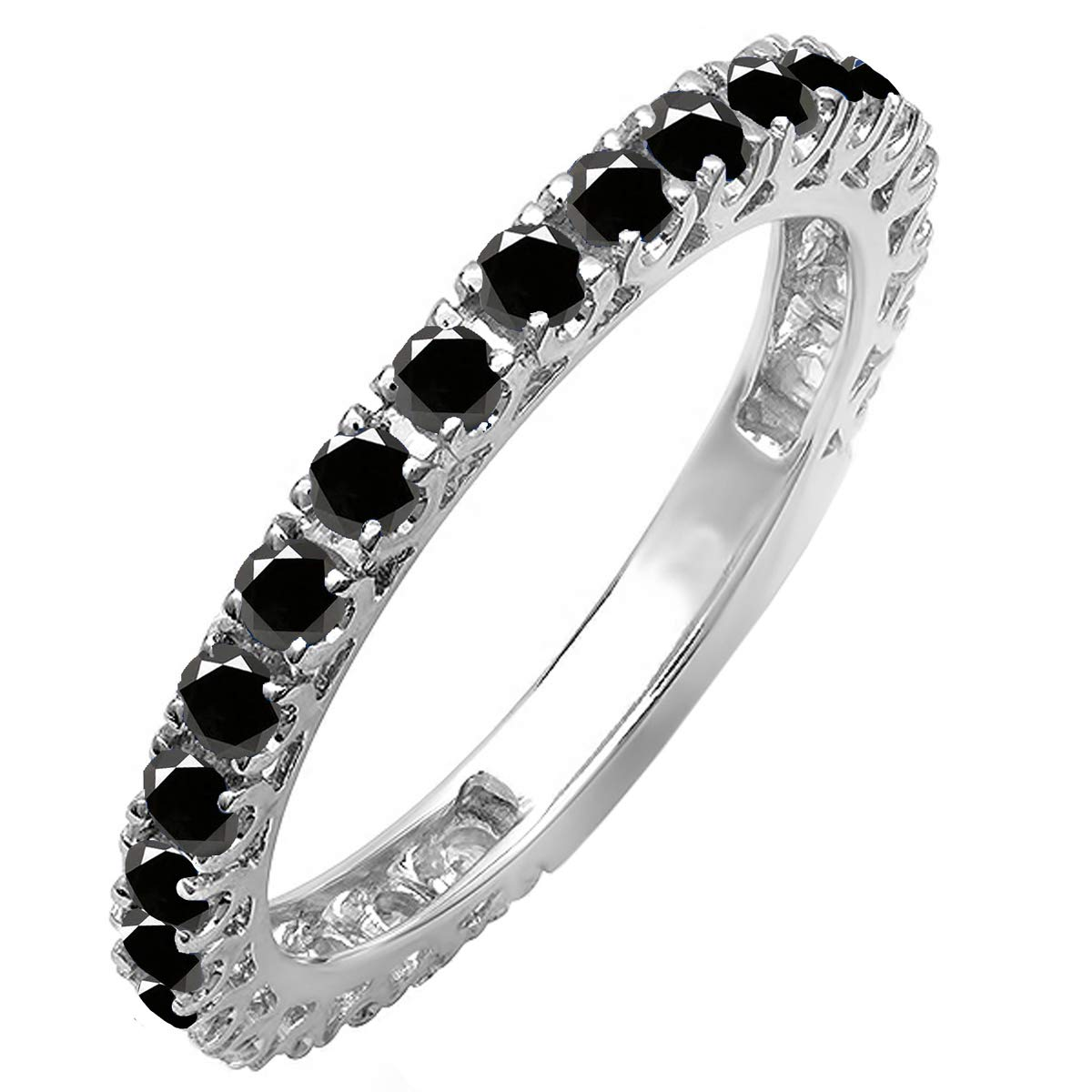 Dazzlingrock Collection 0.90 Carat (ctw) 14K Round Black Diamond Eternity Sizeable Wedding Band, White Gold, Size 8.5 by Dazzlingrock Collection