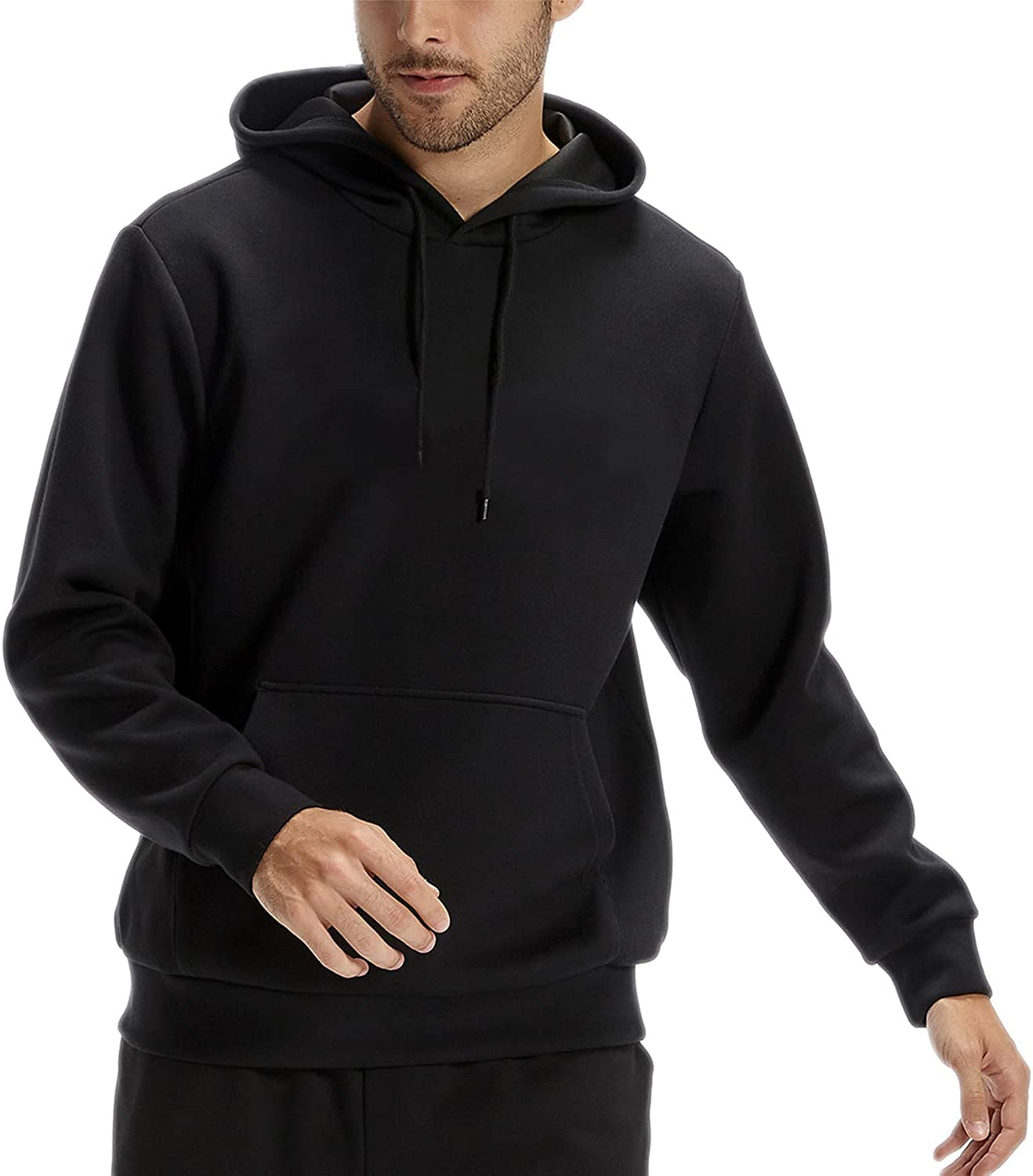 CASEI Solid Hoodies for Men Athletic Pullover Hoodie Lightweight Sweatshirt with Pockets: Clothing