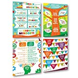 Sproutbrite Classroom Posters for Decoration - Educational & Motivational Growth Mindset for Students - 4 Posters - 16''x24'' Each