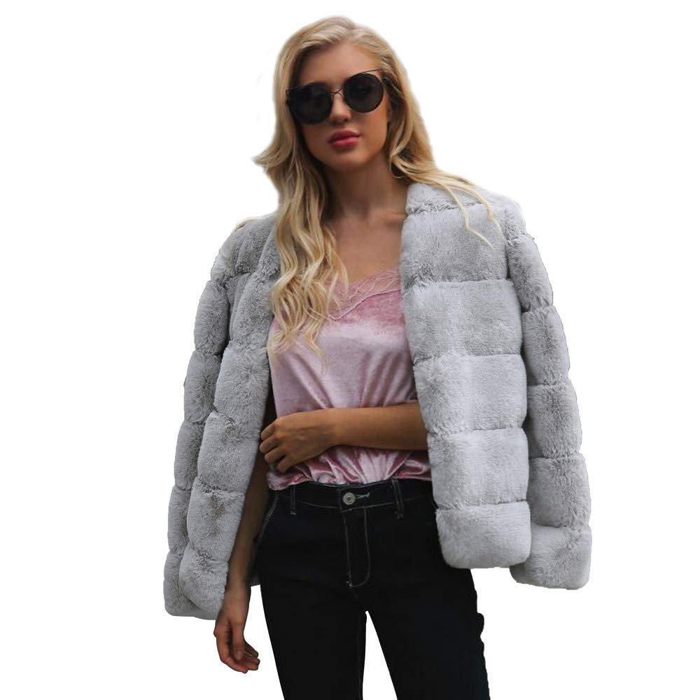 Hpapadks Womens Ladies Warm Faux Fur Coat Jacket Solid Winter Gradient Parka Outerwear Cardigans Button Cable Sweater