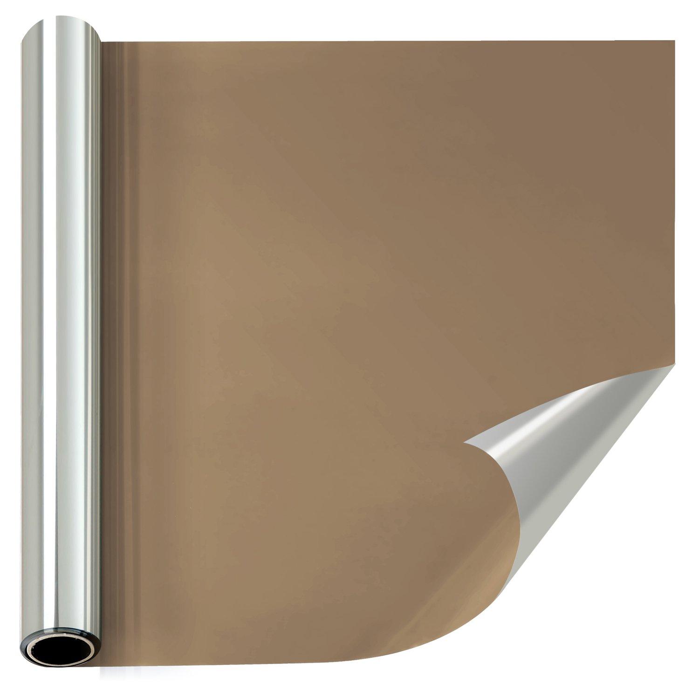 窓断熱シート マジックミラーフィルム 目隠し 赤外線/紫外線カット 冷暖房効率アップ 静電気吸着 家とオフィスに対応する 装飾的な薄色窓フィルム シート シール (60cm×1000cm, ブラウンシルバー) B07BP2VVRK 60cmx1000cm|ブラウンシルバー ブラウンシルバー 60cmx1000cm