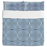Navy Hypnosis Duvet Bed Set 3 Piece Set Duvet Cover - 2 Pillow Shams - Luxury Microfiber, Soft, Breathable
