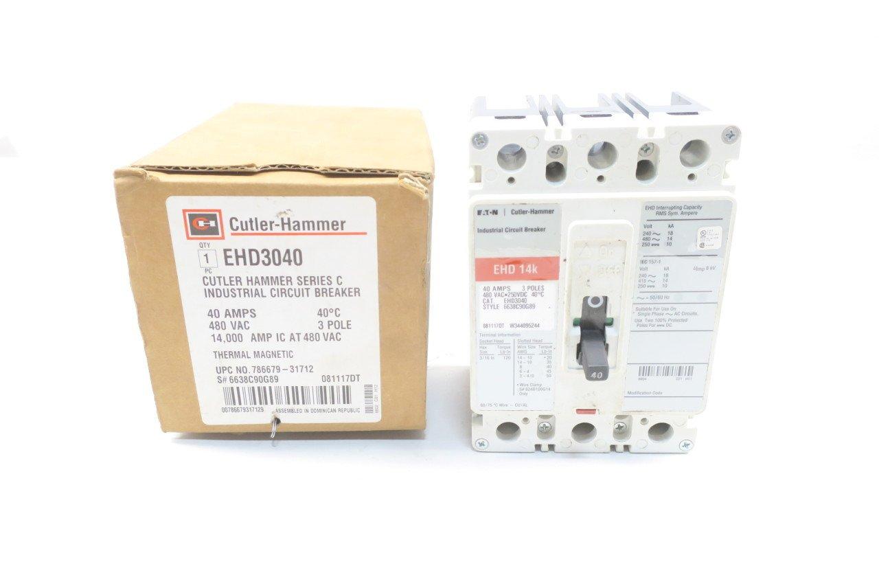 NEW CUTLER-HAMMER EHD3040 40A AMP 3P 480V-AC CIRCUIT BREAKER D583474