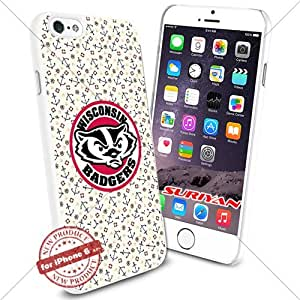 New iPhone 6 Case Wisconsin Badgers Logo NCAA #1721 White Smartphone Case Cover Collector TPU Rubber [Anchor]