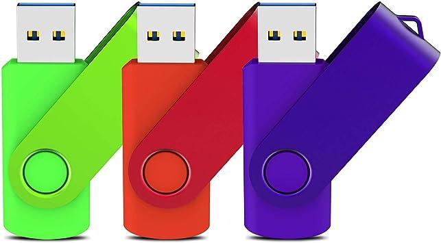 KOOTION Pendrive 64GB 3.0 Memoria USB 3.0 64GB Flash Drive 64 Gigas Pack de 3 Unidades Pen Stick Pincho USB3 Piezas de Alta Velocidad, Verde Rojo y Púrpura: Amazon.es: Electrónica