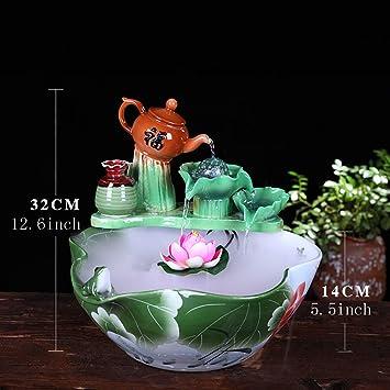 Estatuas Fuente cerámica,Fuente de Escritorio de Lotus Pintado Fuente de Escritorio en Cascada Decoración