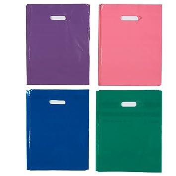 Blue Panda Bolsas de plástico para artículos (Juego de 100 Piezas): Ideal para Venta minorista, Fiestas de cumpleaños, Compras, Regalos: Colores ...