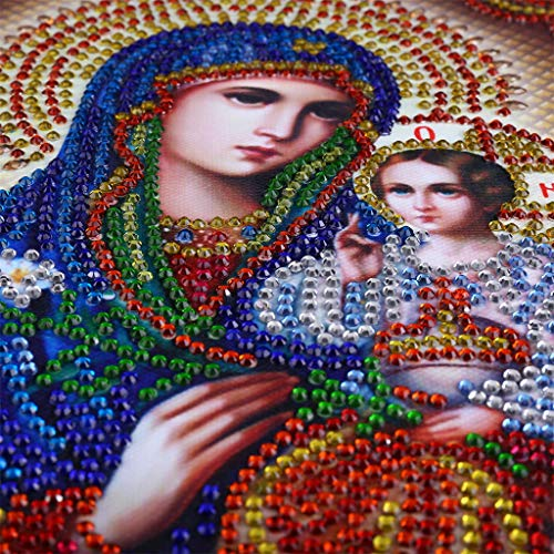 DIY 5D Diamond Painting Religious Partial Drill Rhinestone Embroidery Dotz Cross Stitch by Number Kit Home Wall Decor for Adults Kids Beginner (A) by Codiak-Decor (Image #5)