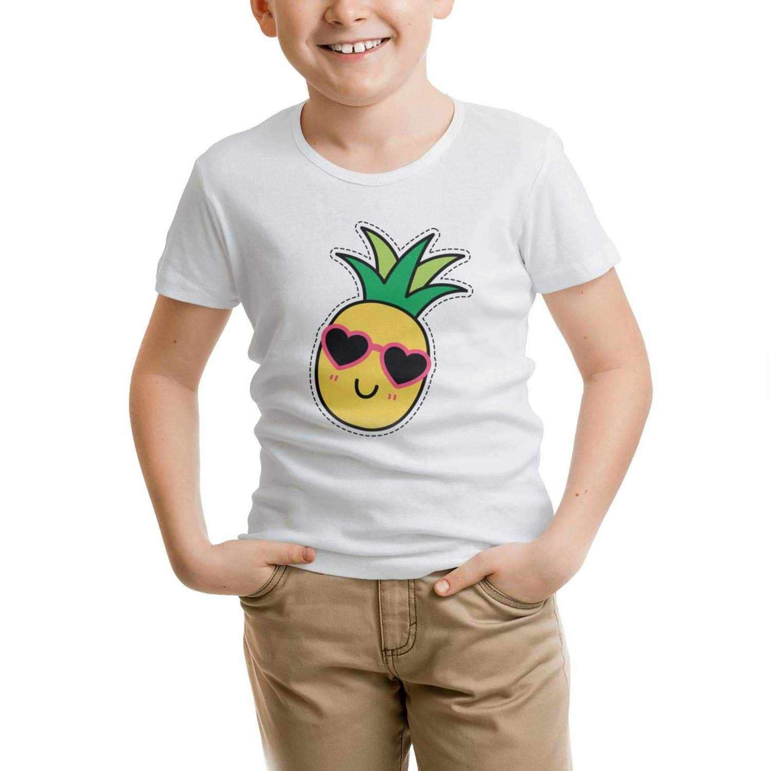 GGTHT Love Glasses Pineapple Toddlers White O-Neck Short Sleeve Cotton t Shirts