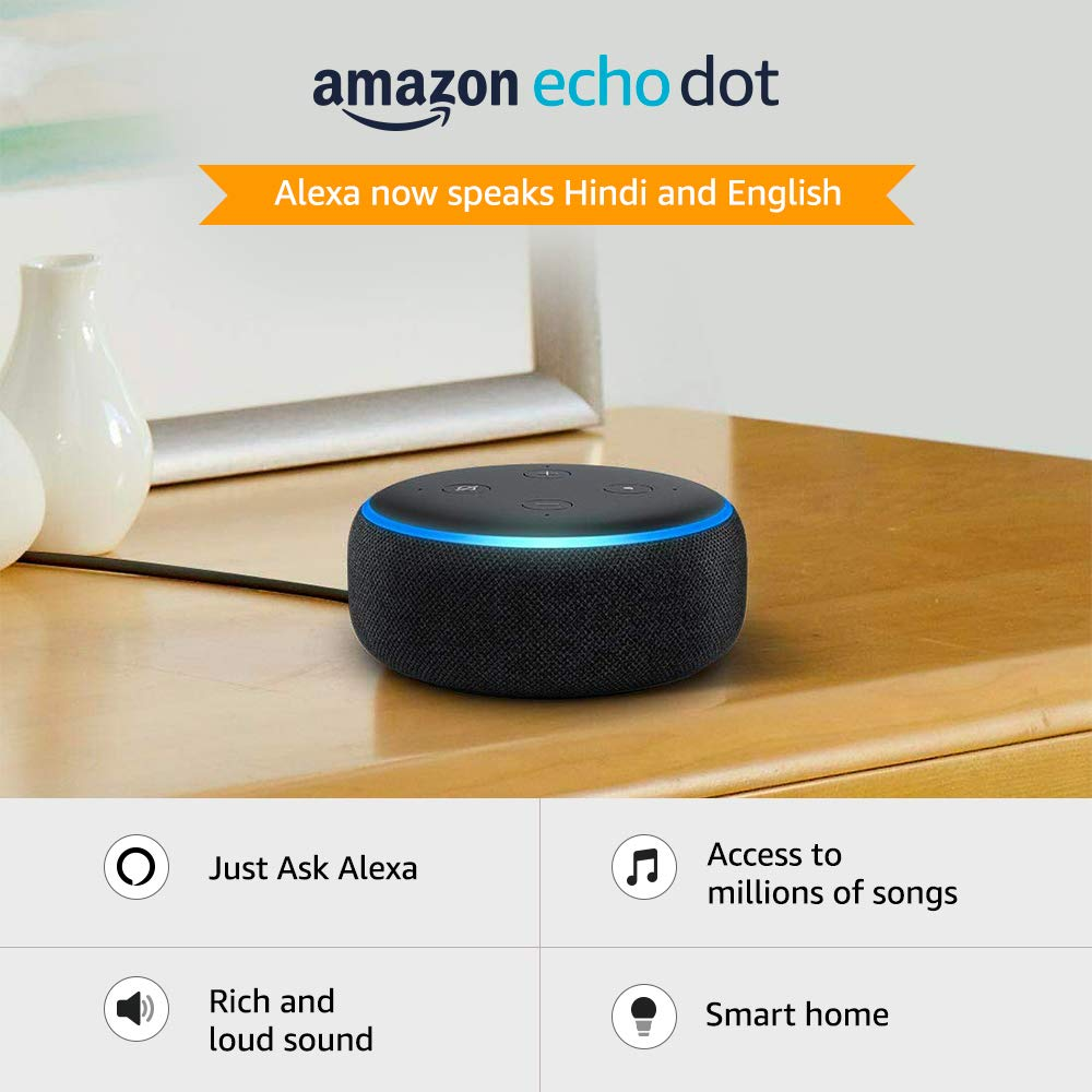Amazon - Amazon: Echo Dot (3rd Gen) New and improved smart speaker with Alexa (Black)