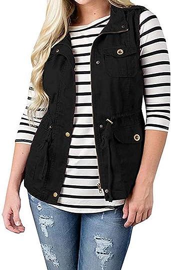 Jumojufol Womens Lapel Sleeveless Full Zip Up Drawstring Jacket Vest Waistcoat