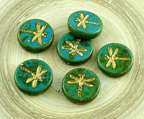 4pcs Picasso Turquoise Green Blue Travertine Matte Gold Wash Rustic Dragonfly Flat Coin Round Czech Glass Beads (Turquoise Coin Beads)