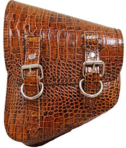 La Rosa Design All Harley-Davidson Softail/Rigid Frames Left Side Leather Saddle Bag-Brown Alligator - Edge Leather Saddlebag