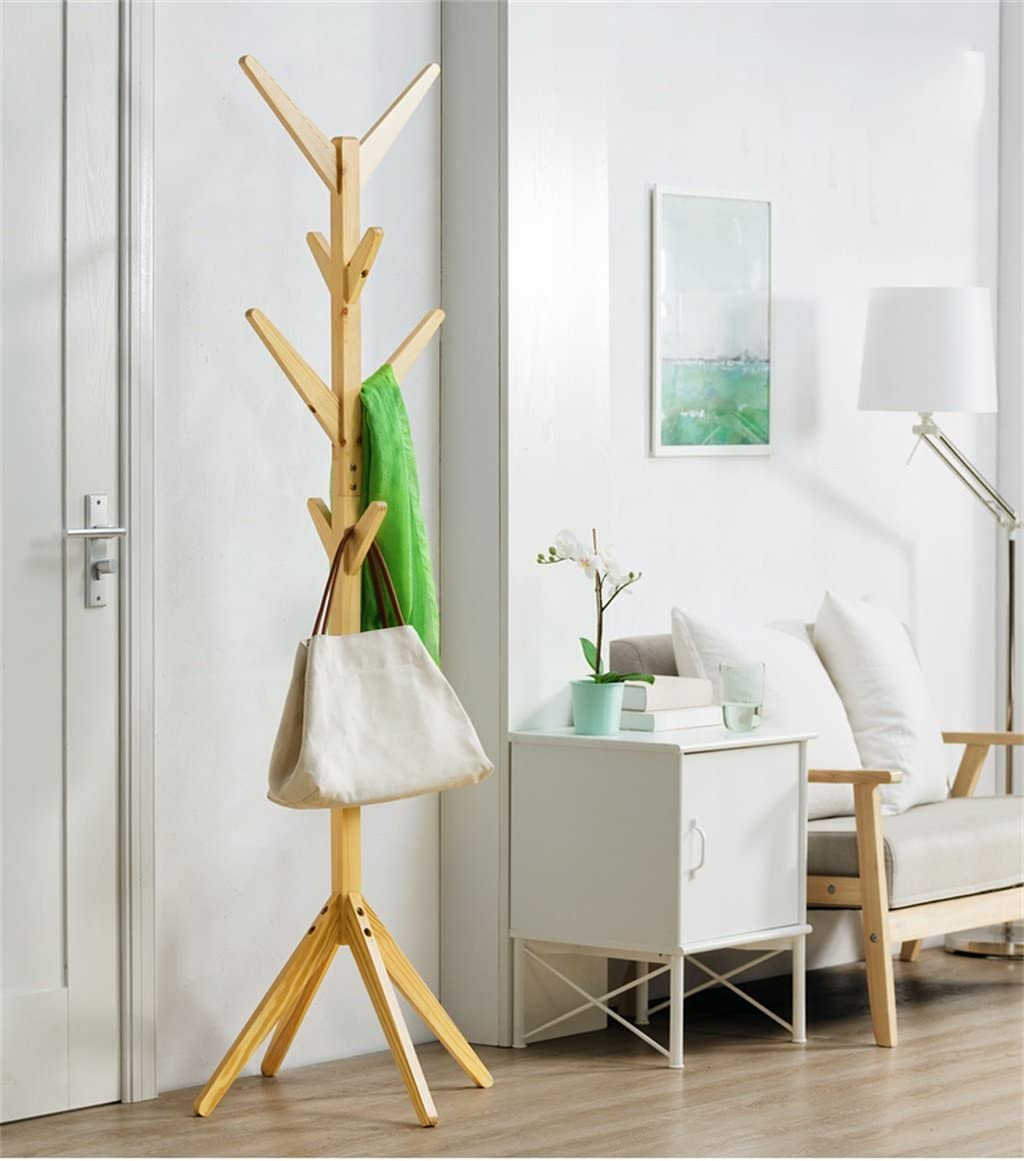JTWJ Solid Wood Coat Rack Living Room Storage Rack 175 Cm High