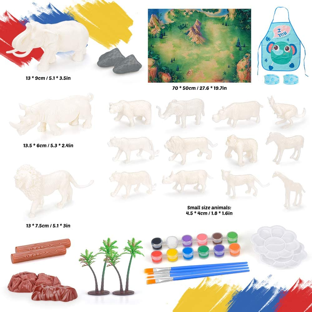Best Birthday Gift Colorshow Arts and Craft Set Animal Figurines Toys Painting Kit for Kids Boys Girls