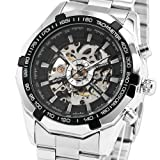 ESS Men's Black Bezel Skeleton Dial Stainless Steel Self-Wind Up Mechanical Automatic Watch WM257