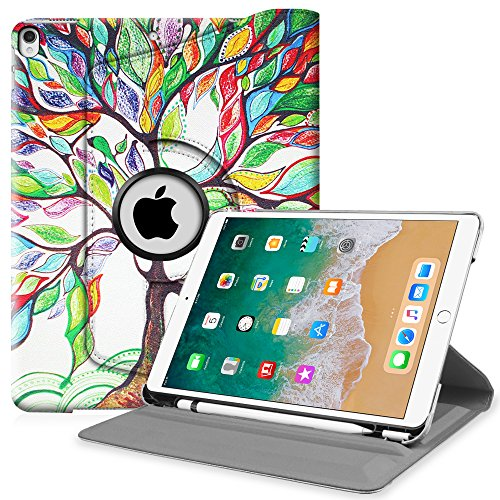 Fintie iPad Pro 10.5 Case with Built-in Apple Pencil Holder - 360 Degree Rotating Stand Protective Cover with Auto Sleep/Wake Feature for Apple iPad Pro 10.5 Inch 2017 Release, Love Tree
