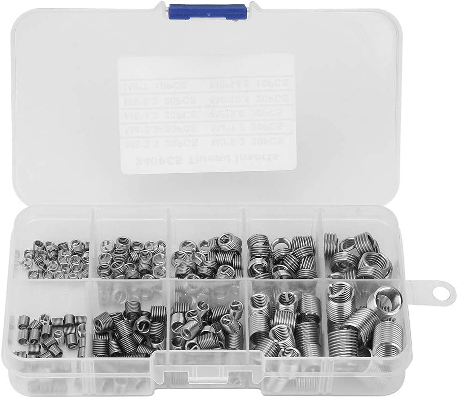 240pcs Insert Nut Threaded Wire Screw Stainless Steel Wire Screw Sleeve Embedment Nuts Assortment Set Kit with Plastic Storage Box