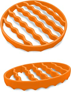 Slow Cooker Rack (2 Pack), Silicone Roasting Rack for Baking Canning Steaming, Steamer Cooking Rack Accessories for 6-quart 8-quart cookers (Round&Oval, Orange)