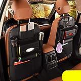 2 Pack PU Leather Premium Car SeatBack Organizer Travel Accessories Car Seat Back Organizer Seat Protector Kick mats Back sea