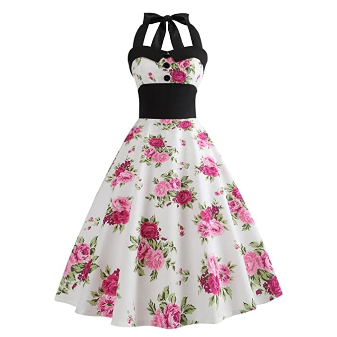 Review Women Vintage Dress, Clearance Halter Sleeveless Evening Party Valentine's