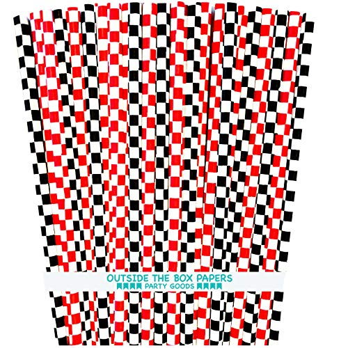 Checkered Paper Straws - Black White and Red