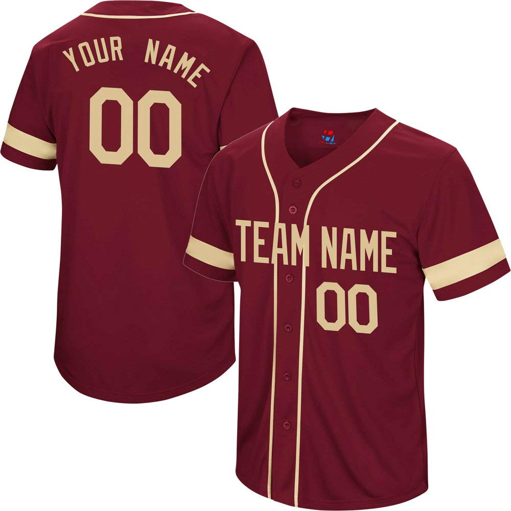 Pullonsy College Garnet Men's Customized Baseball Jersey Big and Tall Stitched Your Name & Numbers,Gold Striped Size 8XL by Pullonsy